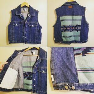 VNTG Pendleton Denim Vest Southwest Print Wool